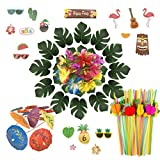 PietyDeko 166 Luau Themen Dekorationen Palmblätter Hawaiian Blumen Kuchendeckel