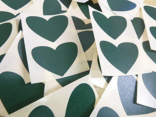 50x37mm Verde Oscuro Con Forma De Corazón Etiquetas, 40 auta-Adhesivo Código De Color Adhesivos, adhesivo Corazones para Manualidades y Decoración
