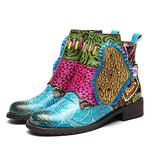 gracosy Damen Stiefeletten mit Absatz, 2019 Leder Stiefeletten Bunt Warme Winter Stiefel Bequem Flache Kurze Stiefel Handgefertigte Patchwork Boots Draußen Mode Schuhe Retro Vintage Party Schuhe -