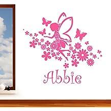 Personalizado Flying Fairy Niñas Nombre con mariposas y flores–Adhesivo decorativo para pared Art Vinilo Transferencia, para habitación infantil, fácil de aplicar, libre Aplicador, separa-fácil, por favor Mensaje US con su nombre de requiere–(por favor Elija el tamaño y de color de cajas de la selección)–por rubybloom Designs, Rosa, Large 118cm x 111cm