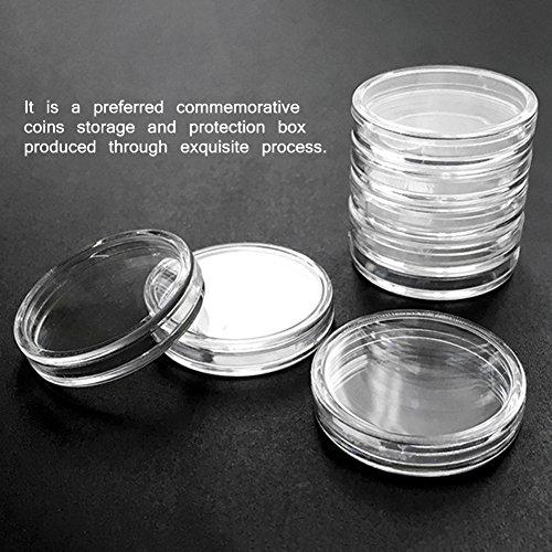 50 stücke 44mm münz kapseln runde münzfall acryl münze vitrine kunststoff bitcoin sammlung halter lagerbehälter für sammler von yunhigh - 4