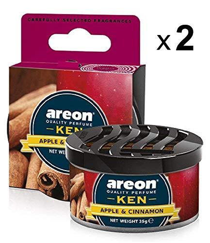 Areon Ken Deodorante Auto Mela Cannella Dolce Ambiente Profumatore Contenitore Scatola Originale Profumo Interni Casa 3D ( Apple and Cinnamon Set x 2 )