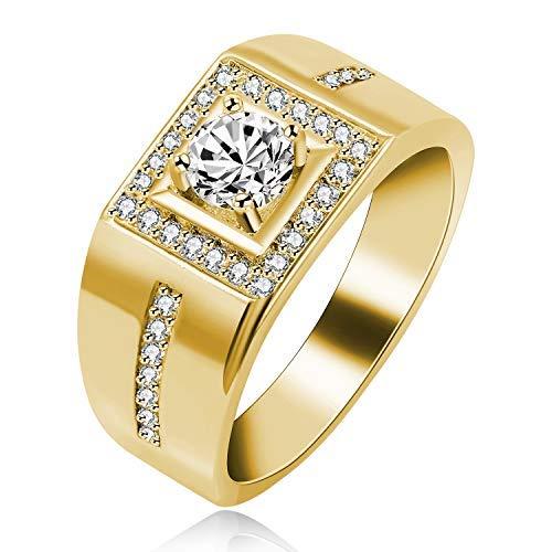 Uloveido Gelbgold Überzogen Runde Brilliant Cut Lab Erstellt Diamant Eheringe CZ Enagagemet Ring für Männer KR201 (Gold, Größe 54 (17.2)) (Diamant-ring-männer Gold Schwarz Weiß)