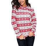 OverDose Damen Frohe Weihnachten Frauen Dots Elk Snowflake Print Tops Kapuzenpulli Pullover Bluse Party Clubbing Outing Dating Outwear(X-Wassermelonenrot,EU-36/CN-L)