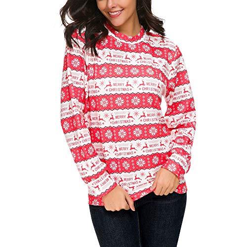 Damen Kapuzenpullover Lange Ärmel Hoodie Pullover Ronamick Damen Weihnachten gedruckt Hoodies Sweatshirt Xmas Damen Tops Pullover Pullover(L, Watermelon Rot)