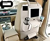 Gaze Me Pu Leatherette Car Seat Back Organizer And Ipad Mini Holder, (Pack Of 1 - Beige)