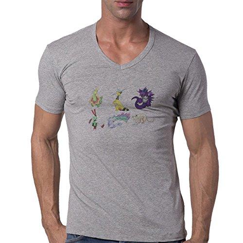 Pokemon Meowth Persian Normal Six Herren V-Neck T-Shirt Weiß