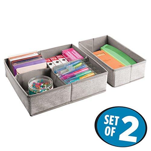 mDesign 2er-Set Schubladen Organizer mit 5 Fächern – Stoff Aufbewahrungsboxen für Büroutensilien – große Schubladeneinsätze für Stifte, Haftnotizen, Büroklammern etc. – beige