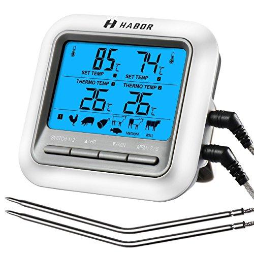Habor Termometro Cucina Timer Doppia Sonda, Termometro Digitale Grande LCD Display Sonda Acciaio Lettura Istantanea per Barbecue, BBQ, Forno, Griglia, Vino, Latte, Cibo, Carne