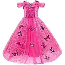 Le SSara Princesa de las niñas de Navidad disfraces cosplay vestido de mariposa (130, A-rosa roja)