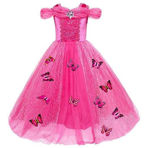 Le SSara Weihnachtsmädchen Prinzessin Cosplay Kostüm Fancy Schmetterling Kleid (140, A-rose rot) (Mädchen Fairy Kleider)