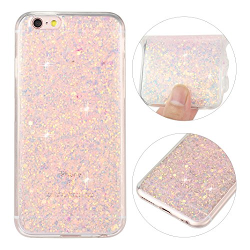 iPhone 6S Hülle, iPhone 6 Glitzer Case Rosa Schleife 3D Bling Shiny Case Transparent TPU Silikon Back Cover Glitter Tasche Handyhülle Bling Schale Beschützer Haut Case für iPhone 6/6S Rosa Silikon 3d Iphone