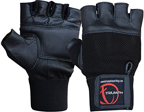 Triumph Power Leather Gym Gloves Black (Medium)