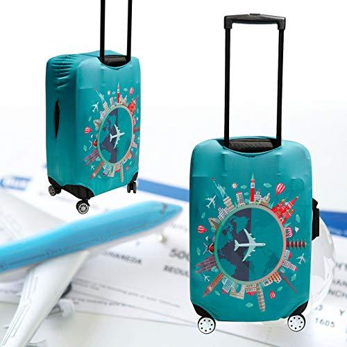 Elastisch Kofferhuelle Reise Kofferschutzhuelle Bambus Kohlefaser 18-32 Zoll Reisekoffer Gepaeck Reisekoffer Koffer Schutzhuelle Huelle Schutz Bezug Luggage Reise Gr. XL