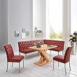 Pharao24 Küchen Sitzgruppe in Rot und Eiche Honigfarben Eckbank