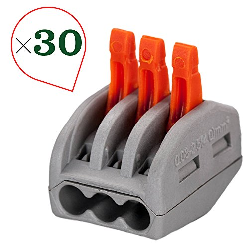 OxoxO 3 Port Lever-Nut Lever Conductor Compact Wire Connectors PCT-213 Terminal Block Wire Push Cable Connector (30 Pack, 3 Port) - 30k Compact