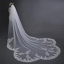 Velo de novia de 3 m de estilo europeo de alta calidad de encaje ultra largo