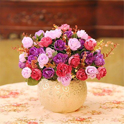Europäischen Stil Retro-Home Dekorative Blume Rose Simulation Blumen Topf-Set CREATIVE Künstliche Blumen Mutter Tag der Geschenk violett