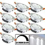Hengda® 10X LED Einbauleuchten, 5W ersetzt 40W, Kaltweiß, Dimmbaren, 6500 Kelvin, 570 Lumen, Deckeneinbauleuchte