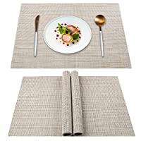 YISK Placemats Set of 4, Heat Insulation & Stain Resistant Washable Place Mats, Durable Non-Slip Kitchen Table Mats Placemat for Dining Table(Beige)