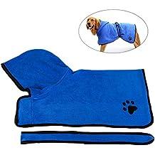 UEETEK toalla de baño de secado rápido para mascotas albornoz con absorción rápida para perro y