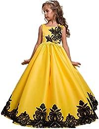 L-Peach Vestito Principessa per Ragazza Bambina Abiti da Sera Matrimonio  Nuziale Elegante Pizzo Floreale senza… 0516dbbe0f3