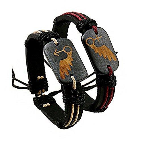 Romantische Engel Flügel Leder Armbänder Set–Schwarz und Rot Leder Armbänder in Geschenkbox
