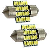 AERZETIX: 2x Bombillas C5W 28mm 12V 24LED SMD blanco efecto Xenon para iluminacion de interior luz del techo luces umbrales de puertas del compartimiento del maletero lector de tarjeta luz de matricula C19683