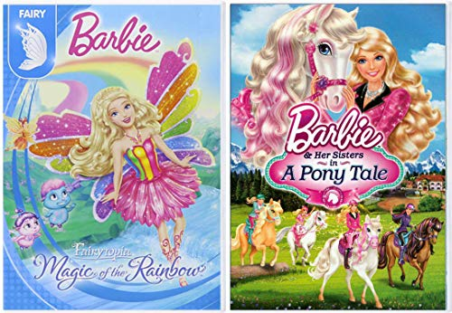 A Very Fairy Friends Barbie Pony Tale & Her Sisters + Magic of the Rainbow Fairytopia Barbie 2 Pack Girls Fun Adventure Cartoon DVD Double Feature Movie Collection 2 pack