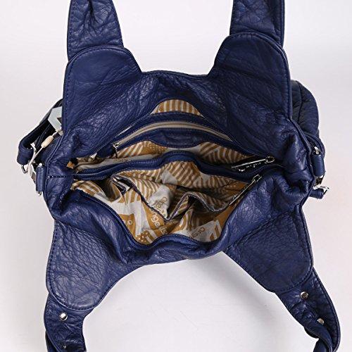 Angelkiss 2 Top Cerniere di chiusura tasche multiple Borse Lavato borse in pelle a tracolla borse MH1156 Blu