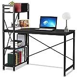 Popamazing schwarz Computer Workstation Schreibtisch mit 4Etagen Regalen für Home Office Arbeitszimmer Möbel