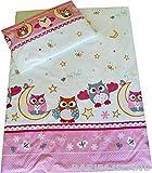 Kinderbettwäsche–Bettbezug für Mädchen und Kleinkinder – Pinke Eulen (90x 120cm)