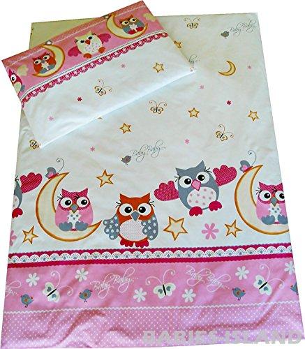 Duvet Cover 120x150 cm Pillowcase 120 cm x 150 cm Girls Toddler Bedding Pink Owls 100/% Cotton