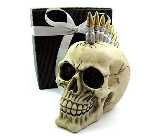 Deko Totenkopf im Irokesen-Style als Spardose, im Geschenk-Set, in eleganter schwarzer Geschenk-Box mit Schleifenband, Geschenk für Frauen, Männer, Gothic, Mystik, Fantasy, Party-Geschenk, Spardose