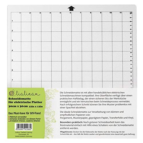 Lialina Schneidematte für alle gängigen elektrischen Schneide-Plotter/Raster in cm & Inch/Format 30 x 30 cm 12 x 12 Inch/Must-have für alle kreativen DIY-Fans
