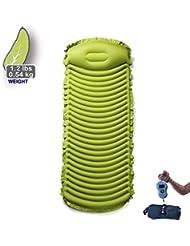 Topnaca Matelas d'extérieur gonflable ultra-léger et confortable en TPU avec oreiller pour le camping, la randonnée