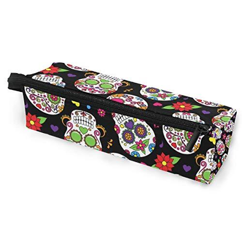 Bleistiftbeutel stift tasche zucker schädel halloween floral blume make-up kosmetische sonnenbrille für mädchen jungen reiseschule