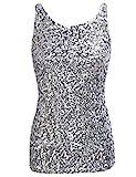 PrettyGuide,Damen Shimmer Glam Pailletten verziertes Sparkle Traegershirt, Gr. M (Herstellergroesse L), silver