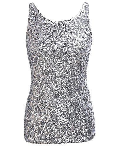 PrettyGuide,Damen Shimmer Glam Pailletten verziertes Sparkle Traegershirt, Gr. L (Herstellergroesse XL), silver -
