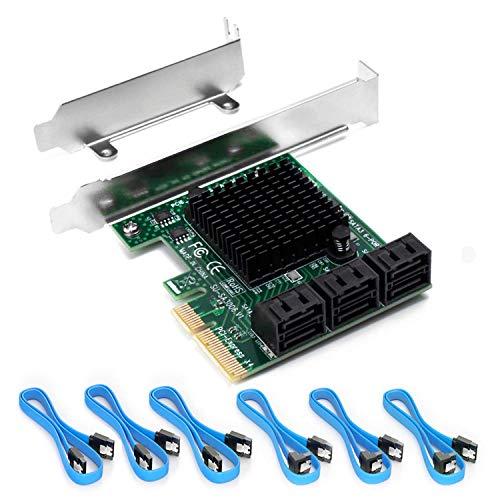 Ziyituod PCIe SATA-Karte mit 6 Anschlüssen, PCI Express SATA-Controller-Erweiterungskarte, 6-Gbit/s-SATA 3.0-PCIe-Karte ohne RAID, Boot als Systemfestplatte