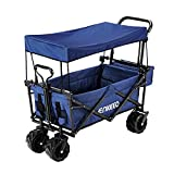 ENKEEO Utility Pull Wagon Collapsible Foldable Trolley Cart with Removable Canopy, Large Capacity