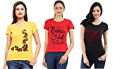 #3: Combo of 3 multi-color, printed, Cotton, Women's T-shirts
