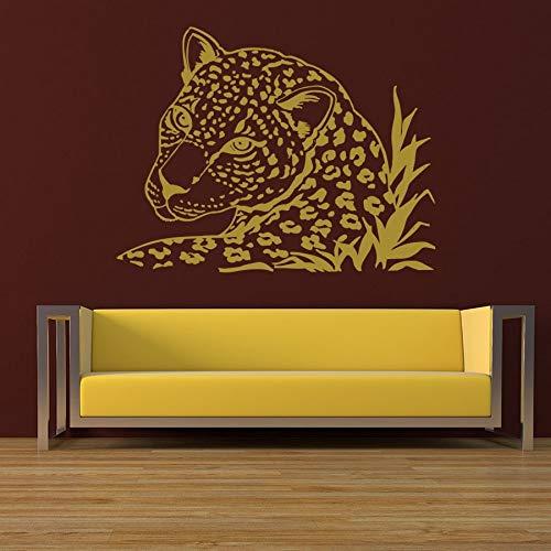 JJHR Wandtattoos Wandaufkleber Wandtattoo Leopard Tiger Wild Cat Animals Safari Aufkleber Wohnkultur Schlafzimmer Wohnzimmer Wandbilder Dekor Aufkleber 55 * 73 cm (Safari-dekor Für Wohnzimmer)