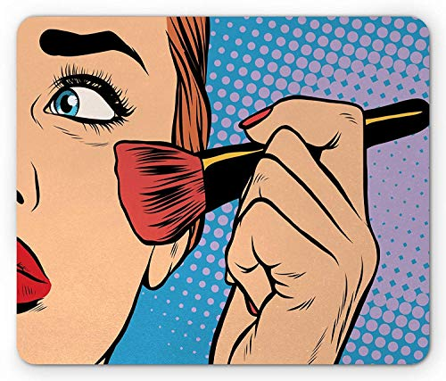Drempad Gaming Mauspads, Makeup Mouse Pad, Vintage Woman with Brush on Hand Pop Art Style Illustration Halftone Background, Rectangle Non-Slip Rubber Mousepad, Multicolor 9.8 X 11.8 INCH
