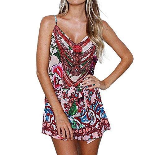 ,Damen Kleider Elegante Lange,Mädchen Mini Ärmellos Bodycon Blumen Abendkleid für Frauen Mädchen Sommer Herbst Frühling Beiläufig Beach V-Ausschnitt Rock,Rock Damen (L, Rot) (Frauen Iron Man Kostüm)