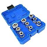 perfeclan 9pcs Lock Steckschlüssel Vielzahn Außen Innen Nüsse Steckschlüssel, 10-24 mm