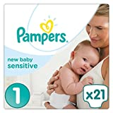 Pampers Premium Protection New Baby Sensitive Größe 1 (Neugeborene) 2-5 kg Tragepack, Windeln, 1er Pack (1 x 21 Stück)