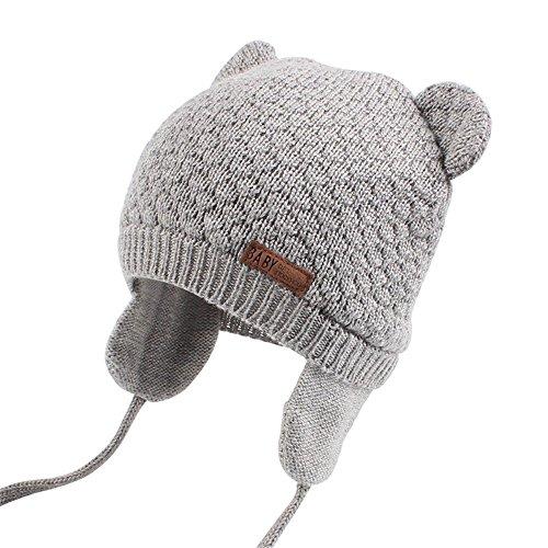 Unisex - Baby Mütze Beanie Strickmütze Unifarbe Wintermütze JOYORUN Grau M