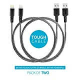 #9: Pack of 2 1m Apple MFi Certified Nylon Braided Original Mivi Tough Lightning Cable for iPhone, iPad and iPod, Super fast charging up to 2.4Amps (Black)