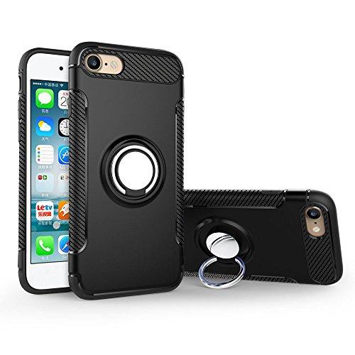 UKDANDANWEI Apple iPhone 7 Hülle mit 360 Grad Full Body Ring Ständer, Hybrid Dual Layer Defender Handyhülle Case [Shock Proof] für Apple iPhone 7 - Roségold Schwarz